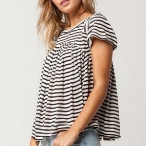 Free People Striped Babydoll Top
